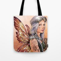 engineer Tote Bags featuring Engineer Fairy by Mortimer Sparrow