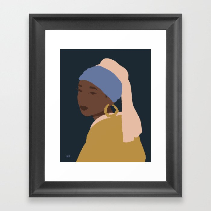 The Girl With A Bamboo Earring Gerahmter Kunstdruck
