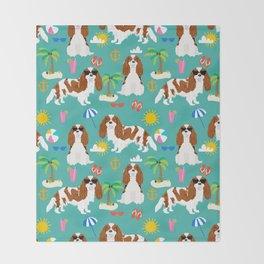 Cavalier King Charles Spaniel beach day tropical vacation socal sunshine Throw Blanket