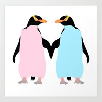 penguins Art Prints featuring Penguins by mailboxdisco
