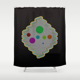 Abstract illusional waves Shower Curtain