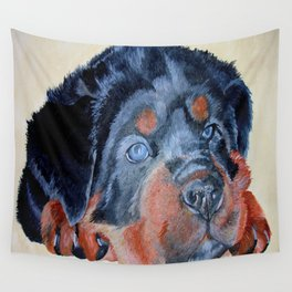 Rottweiler Puppy Portrait Wall Tapestry