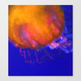 Orange Jellyfish Ocean Art  Canvas Print