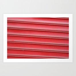 Red garage door Art Print