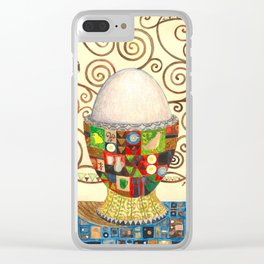 A boiled egg according to Gustav Klimt Clear iPhone Case