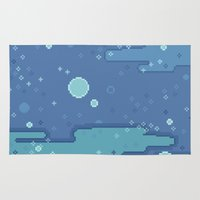 8bit Area & Throw Rugs featuring Blue Space Bubbles (8bit) by Sarajea