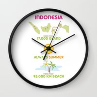 indonesia Wall Clocks featuring Indonesia by Franciska Windy
