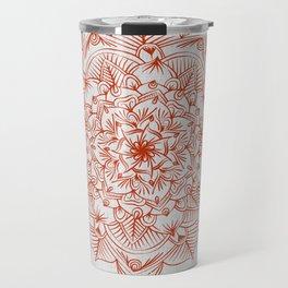 Rust Red Mandala on Japanese Rice Paper Travel Mug
