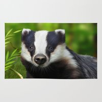 badger Area & Throw Rugs featuring Badger by Julie Hoddinott