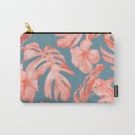 Island Life Coral on Deep Teal Blue Carry-All Pouch