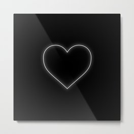 Neon White Valentines Love Heart Metal Print