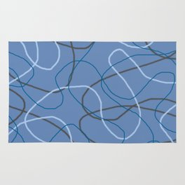 Mad and Crazy Lines on Blue Rug