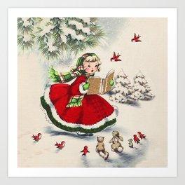 Vintage Christmas Girl Art Print