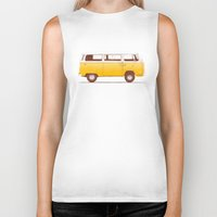 brown Biker Tanks featuring Yellow Van by Florent Bodart / Speakerine
