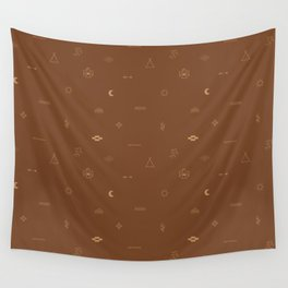 Southwestern Symbolic Pattern in Rust & Tan Wall Tapestry