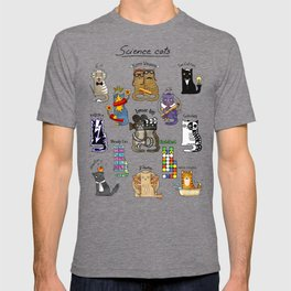 Science cats. History of great discoveries. Schrödinger cat, Einstein. Physics, chemistry etc T-shirt