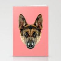 german shepherd Stationery Cards featuring German Shepherd // Pink by peachandguava