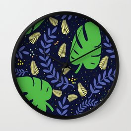 Tropical Leaves & Ferns Wall Clock