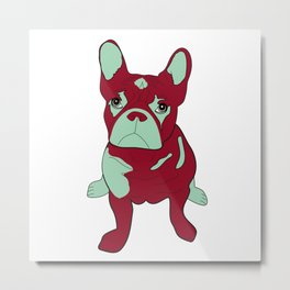 Frankie the French Bulldog - Red Metal Print