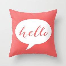 Coral Hello Throw Pillow