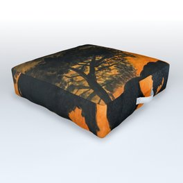Elephants at sunset Outdoor Floor Cushion