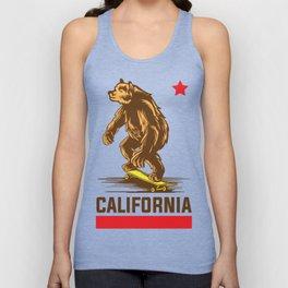 California flag bear vintage skateboarding t-shirt Unisex Tank Top