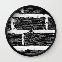 B&W Brick Wall Wall Clock