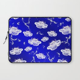 white blossom in blue and silver Digital pattern with circles and fractals artfully colored design Laptop Sleeve