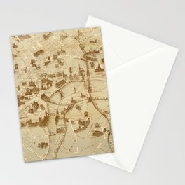 Vintage Map of London England Monuments (1877) Stationery Cards