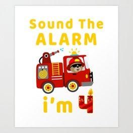 Fire Truck 4 Years Old Birthday T Shirt Kids Gift Kids T-Shirt Art Print