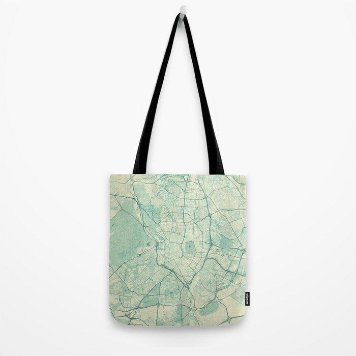 Madrid Map Blue Vintage Tote Bag