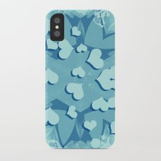 Grunge floating hearts in blue iPhone X Slim Case
