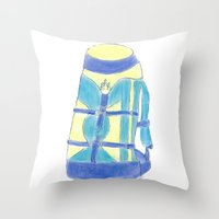 backpack Throw Pillows featuring A backpack yellow by Atelier Pora