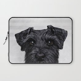 Black Schnauzer Dog illustration original painting print Laptop Sleeve
