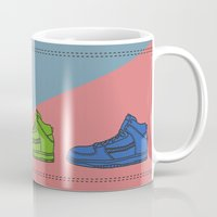 sneakers Mugs featuring Colorful sneakers by YTRKMR