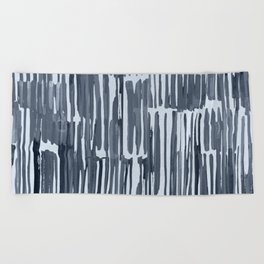 Simply Bamboo Brushstroke Indigo Blue on Sky Blue Beach Towel