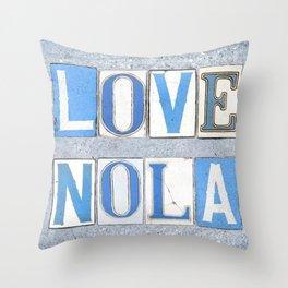 Love NOLA New Orleans Street Sign Tiles Word Art Print Louisiana Cajun French Quarter Throw Pillow