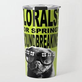 PUG SUKI - FLORALS FOR SPRING - 80S YELLOW Travel Mug