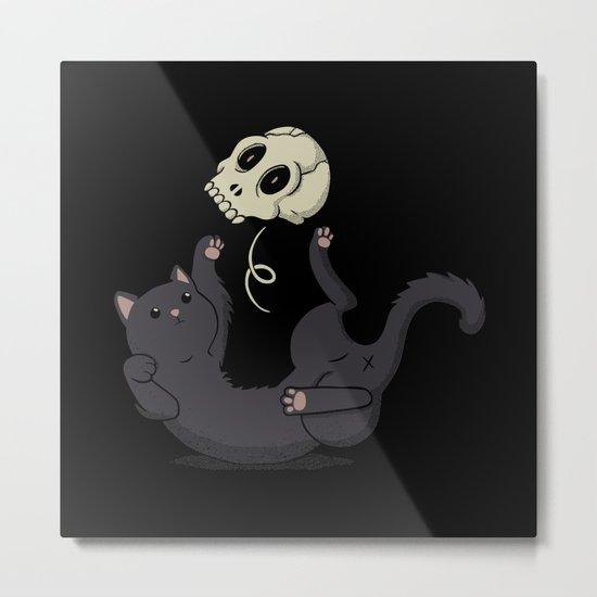 Skull Black Cat Metal Print