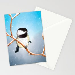 Little bird chickadee in winter day with snow Stationery Cards