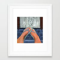 movies Framed Art Prints featuring Summer Movies by Colleen Moran