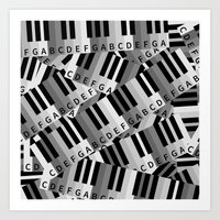 black keys Art Prints featuring Piano Keys by mailboxdisco