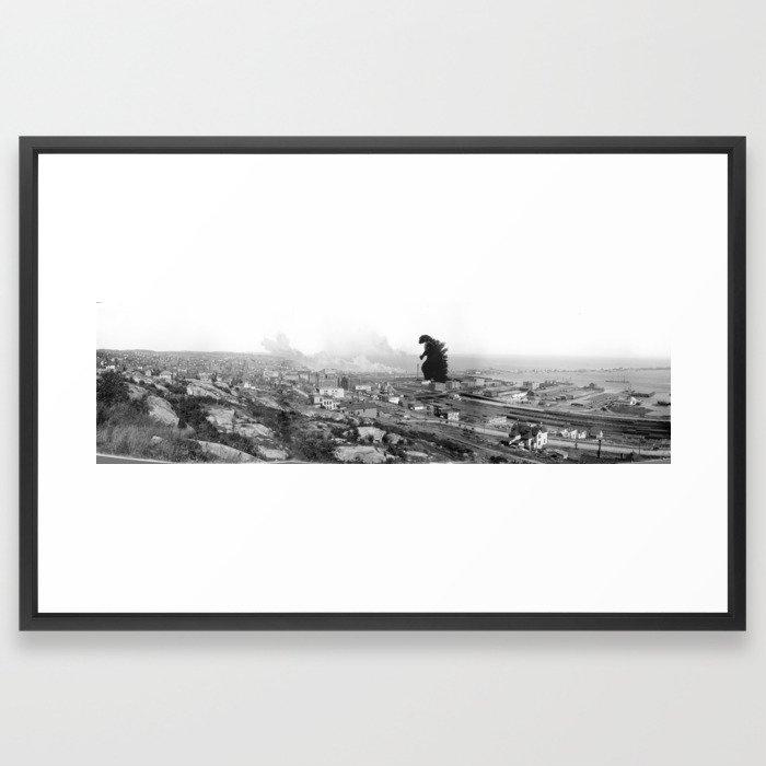 Old Time Godzilla Framed Art Print