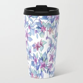 Colorful Watercolor Leaf Pattern Travel Mug