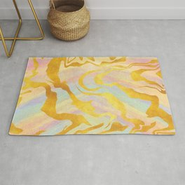 Gold Marble Watercolor Pattern Rug