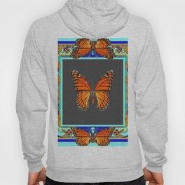 Orange Monarch Butterflies  Blue Patterns Art Hoody