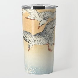 Japanese Seagull Woodblock Print by Ohara Koson Travel Mug