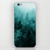 blankets iPhone & iPod Skins featuring Fractal Forest by Klara Acel