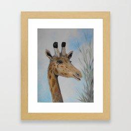 Giraffe Smile Framed Art Print