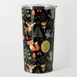 Cute Colorful Wood Animals In Forest Travel Mug